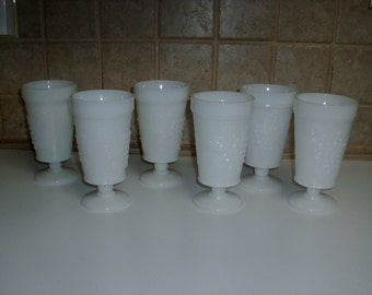 6 Vintage Milk Glass drinking glasses w/ grape design