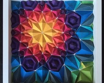 Handmade Paper Sculpture - Kaleidoscope, wall art, framed in shadow box