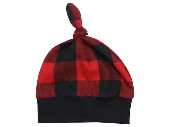 Red Buffalo Plaid Top Knot Beanie Baby Hat Black & Red Buffalo Check Red Black Buffalo Plaid Flannel Winter Hat Fall Hat Baby Lumberjack Hat