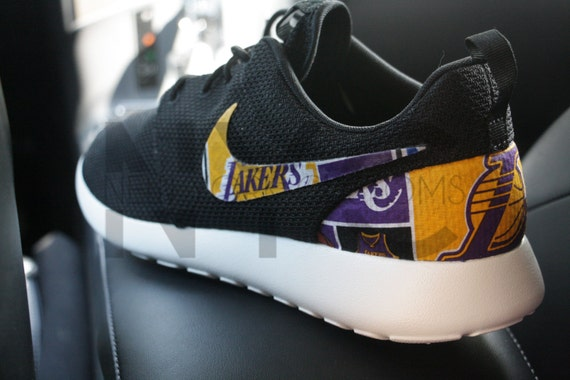 3984dc54b964a durable service Los Angeles Lakers Nike Roshe Run Black Custom by NYCustoms