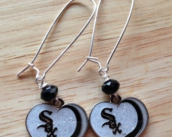 Chicago White Sox glitter heart Earrings