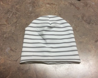 Gray and White Stripe Stretch Beanie Hat, Double Layer Knit Jersey Head Wrap