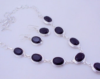 free shipping 48 gram stunning FACETED BLACK ONYX  .925 sterling silver handmade  necklace with earring