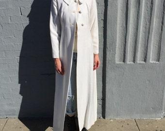 vintage 60s long empire waist peter pan collar lightweight coat