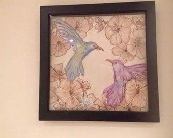 Framed bird pyrography art