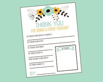 Teacher Questionnaire. Perfect for Teacher's Appreciation. Teacher Gift. Instant Digital Download. Preschool, Kindergarten.