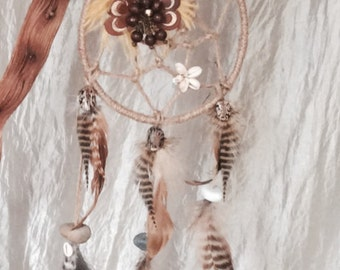 Dream catcher exotic grizzly Rooster feathers