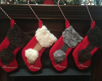 Poodle Christmas Stockings - Personalized- PRICE REDUCED