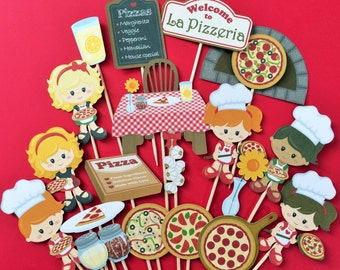 Pizza cupcake toppers, pizza cupcake toppers, pizza themed party toppers, pizza girls cake toppers, pizza party