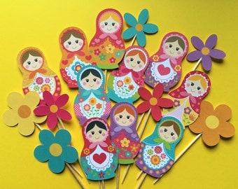 Nesting dolls cupcake toppers, Matryoshka cupcake toppers, Russian dolls toppers, Babushka toppers, Nesting dolls cake topper