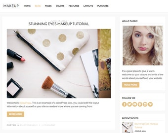 "WordPress Theme ""Makeup"", Mobile Responsive WordPress Theme, Gold Blog Theme, Premade Website Template, for WordPress.org Websites"
