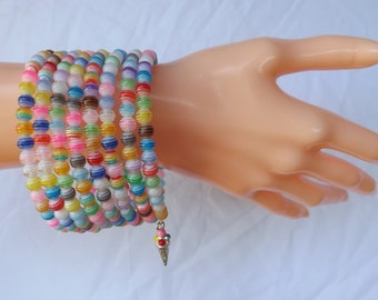 Memory wire bracelet, colourful bracelet, striped bracelet, multi-coil bracelet, cheerful bracelet