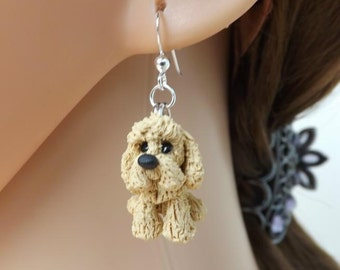 Adorable spaniel dog earrings, made from fimo and on sterling silver ear wires