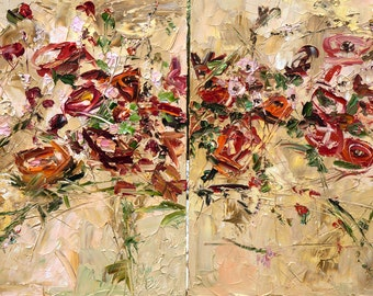 Large Canvas Dyptich Palette Knife Oil Painting Flowers Peony Red Roses Landscape Wall Decor Room Wall Modern Art Impressionism Impasto Boho