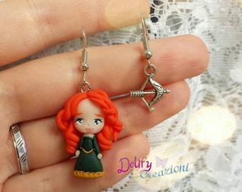 Earrings handmade fanart of Merida The Brave-Handmade earrings The Brave fanart