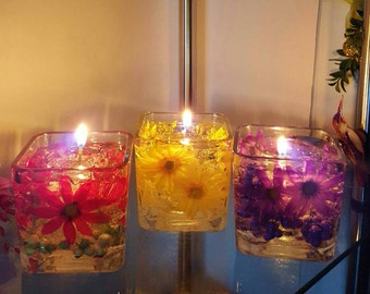Reusable Gel Wax Candles with Daisies