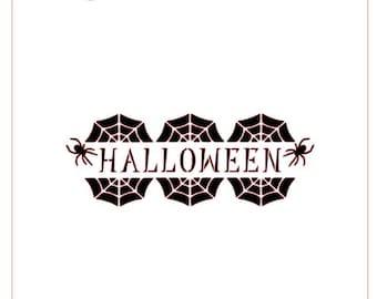 Halloween Spider Web Banner Stencil
