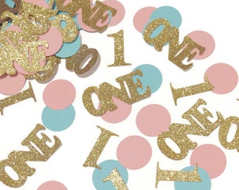 1st Birthday Confetti, Twin Babies, first party decorations, boy and girl, pink, blue, gold, circles, 100CT, twins, round, glitter