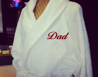 Dressing Robe Monogrammed with Name or Initials Father's Day Wedding, Anniversary, Birthday, Engagement, New Mums & Dads, Housewarming