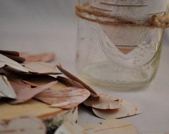 LARGE jar of hearts - 70 per order - Birch Bark Hearts - Wedding Favors - Birch Tags