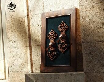 Turkish Wood Carving Art  DoorKnocker Relief  (Aging Style )