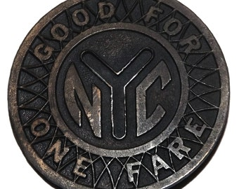 "1970s NYC ""Subway Token"" Belt Buckle"