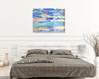 Gold Leaf and Acrylic Abstract Painting with High Gloss Resin 20x24 - gold blue pink green