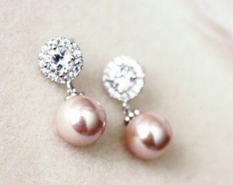 Rose Pink Pearl Bridal Earrings Pearl Bridesmaid Earrings Blush Bridesmaid Gift Blush Pink Earrings Blush wedding Jewelry