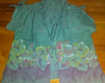 Womans Vintage 1980 Island tie over shirt. Tropical Hawiian tiki  flowers Tiki  sz M- L