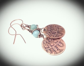 Dangling copper etched earrings with semi precious stones
