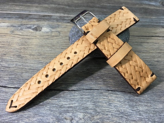 Real leather craving art watch Strap for Rolex, handmade beige color leather watch band, IWC - 18mm/19mm/20mm lug width