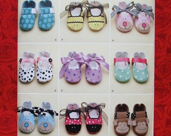 Simplicity Sewing Pattern 2491, Infant Shoes, Monkey, Bumble Bee, Lady Bug, Bear Styles, Spring Summer Booties, DIY Baby Shower Gift, UNCUT