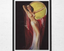 RETRO PIN UP Girl Poster - Burlesque Belly Dancer Retro Print - Vintage Kitsch Wall Art, Retro Barware Poster, Tiki Lounge Art