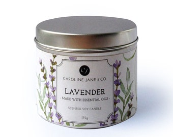 LAVENDER - Vegan, Soy Wax Candle, Crackling wooden wick, Large Tin, Essential Oil