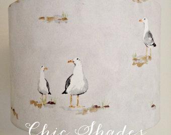 Grey Seagull Fabric Lampshade