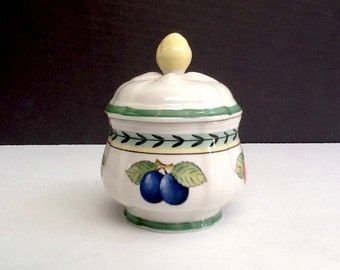 Villeroy & Boch French Garden Sugar Bowl, Made in Germany, Fruit Motif, French Country Serving