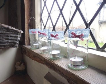 Glass candle votives with lace and gingham ribbon // glass votives // housewarming gift
