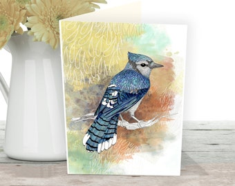 Bird card of a bluejay bird. Art cards of a beautiful bird watercolour printed on high quality paper.