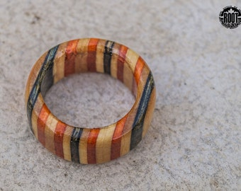 ROOT: Striped Burma - Recycled Skateboards Ring