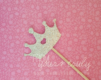 Glitter Crown Cupcake Toppers (Pk of 20)