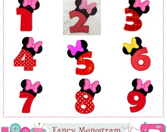 Birthday Numbers applique,Minnie Numbers applique,Girl birthday,Birthday applique,Numbers design,Girl design.