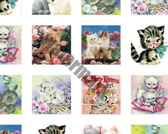 Vintage cats kittens digital download scrabble tile glass tile jewelry collage