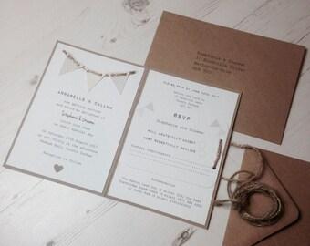 Vintage Bunting Wedding Invitation Handmade Day