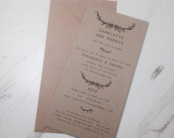 Rustic Quirky Stag Wedding Invite Evening Invitation Handmade
