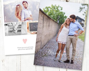 5x7 Thank You Card Wedding - Thank You Cards Set - Photoshop Template for Photographers - WD003 - instant download