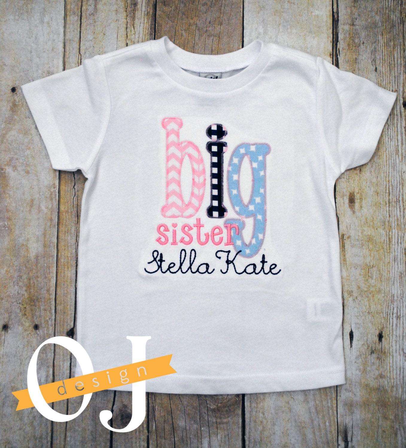 Big sister t shirt personalized name infant