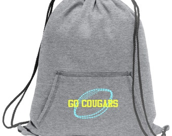 Sweatshirt material cinch bag with front pocket and embroidered spirit design - Football - Multiple Colors - Camouflage - BG614