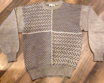 80's 90's sweater men's XL - marled grey abstract pattern - comfy vintage sweater