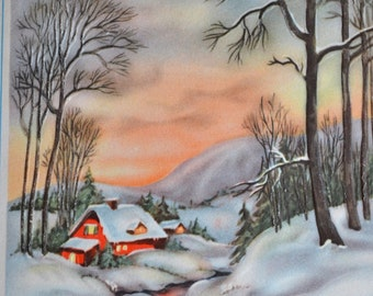 Vintage Christmas Card - Red Cabin at Rivers Edge Glowing Sunrise - Used