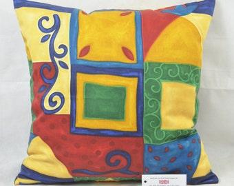 "Bright Colours Abstract Print 100% Cotton CUSHION COVER 19.75""x19.75"" 50cm sq"